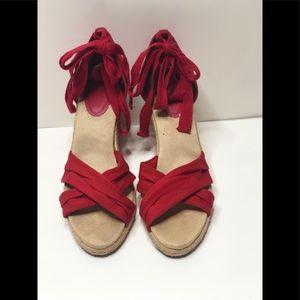 Red Ann Taylor Loft  ESPADRILLE WEDGE SANDALS